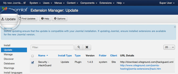 Updating joomla extensions